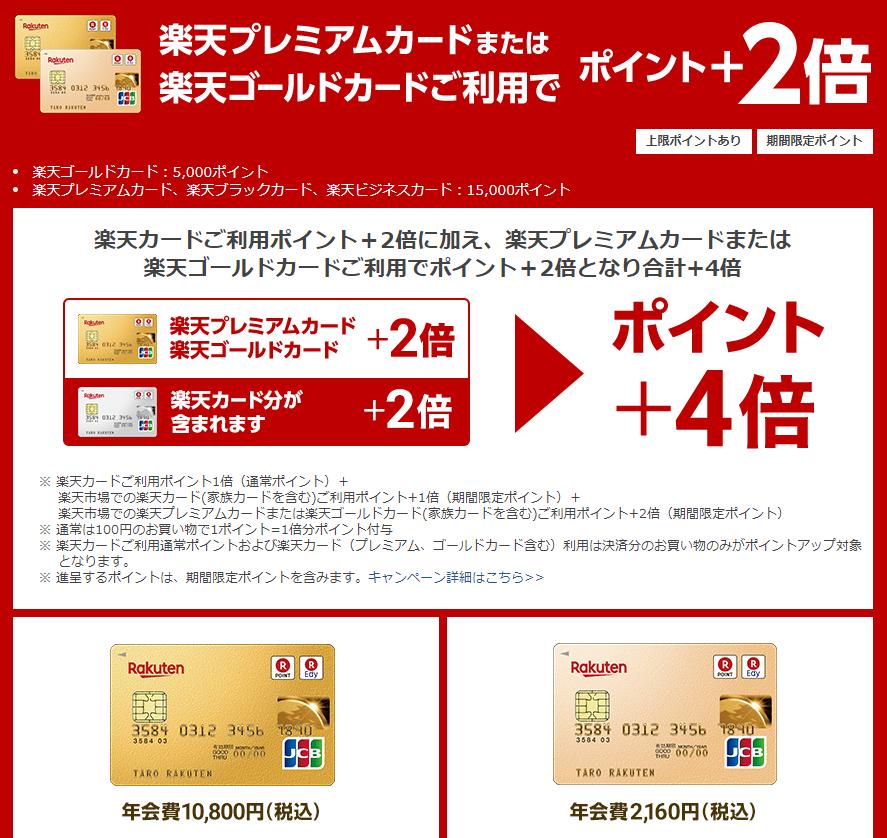 楽天プレミアムカードまたは 楽天ゴールドカードご利用でポイント+2倍となり合計+4倍